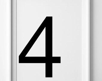 Number 4 print, printable wall art, digital print, black and white art, number prints, printable art, modern wall decor, Scandinavian design