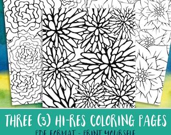 Doodle Adult Coloring Pages, Instant Download Coloring Floral Pattern Zen Art Coloring Downloads