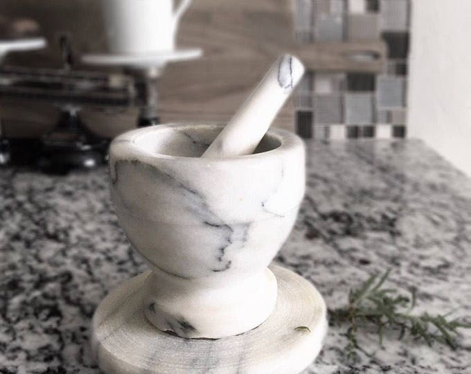 Vintage Marble Mortar & Pestle on Base Plate Apothecary Kitchen