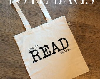 Bookworm tote bag, Book bag, Book lover gift, Live to Read, Shopping bag, Shoulder bag, Bookstagram gift, Nameless City Apparel