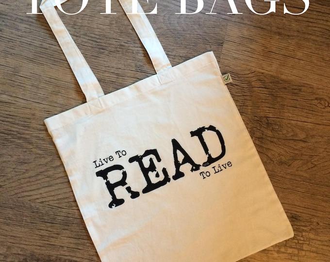 Bookworm tote bag, Book bag, Book lover gift, Live to Read, Shopping bag, Shoulder bag, Bookstagram gift, Nameless City Apparel