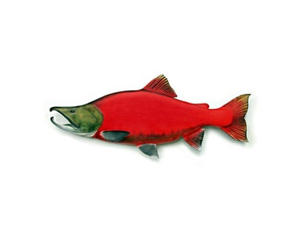 KOKANEE SALMON fish wood carving, fishing decor, fishing art, fly fishing art, fish art, trout,  fish wall mount, 22 inch