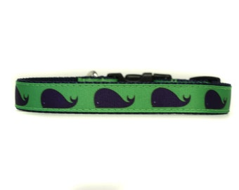 5/8 or 3/4 Inch Wide Dog Collar with Adjustable Buckle or Martingale in Preppy Whales an Exclusive Design