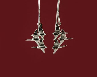 Flying Geese drop or dangle earrings inspired by nature in 925 sterling silver
