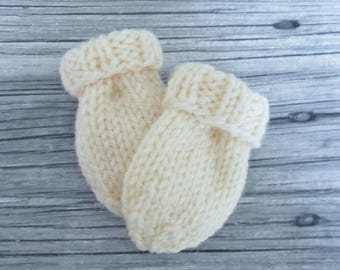 Ivory Cream Baby Mittens in Newborn Infant Size 0 to 3 Months, Hand Knit No Thumb Mitts, Gender Neutral Clothes, Shower Gift Boy or Girl