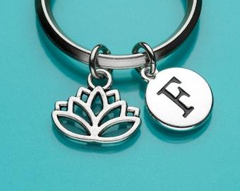 Lotus Keychain, Lotus Flower Key Ring, Yoga Charm, Religious Symbol, Initial Keychain, Personalized Keychain, Custom Keychain, 414