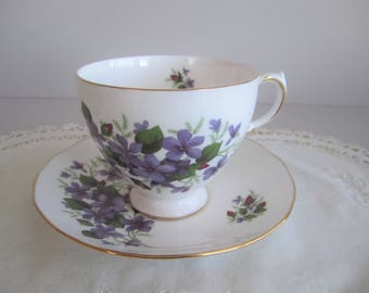 Queen Anne Violets Tea Cup & Saucer - Ridgway Potteries Bone China - England