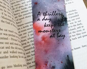 Watercolor Bookmark, Thriller Suspense Bookmark, Paper Bookmark, Handmade Bookmark, Quote Bookmark, Bookmarks, Reading Gift, Book Gift