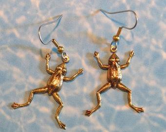 Frogs, Leaping Frog Earrings, 24 karat Gold Plate, Jumping Frog, Gift, EG256