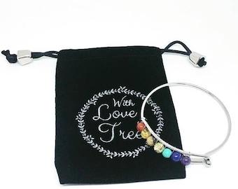 7 Chakra Healing Bracelet, Mala Bracelet, Yoga Bracelet, 7 Chakra Bracelet, Healing and Meditation Jewelry, Valentine's Gift, Gift for her