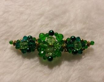 Beaded Barrette, Quad Design, Green1