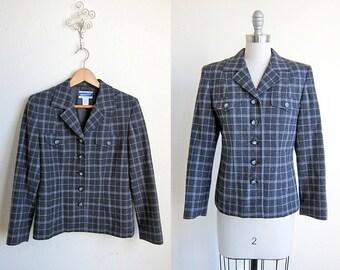 vintage pendleton plaid wool gray grey pink tartan suit jacket blazer coat s