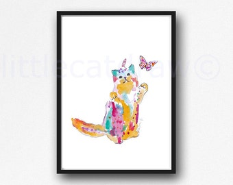 Cat With Butterfly Watercolor Painting Print Cat Lover Gift Caticorn Cat Print Bedroom Decor Cat Wall Art Rainbow Wall Decor Unicorn Print