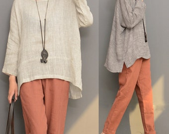 Loose fitting linen top cotton blouse linen tunic linen shirt maxi top asymmetrical clothing women top women clothing