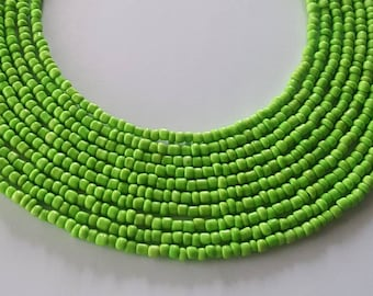 Lime green seed bead necklace - green seed bead necklace - green necklace - green bead necklace - lime green necklace