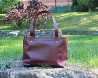 Burgundy shoulder bag, Tote bag with zipper, Large size leather tote, Oversized woman bag, Leather tote woman handbag