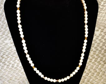 Fresh Water Pearl Necklace with Swarovski Crystals, Jewelry, Gift
