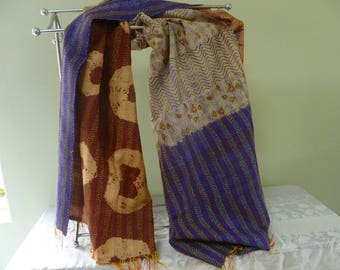 Vintage silk Kantha, FREE SHIPPING, wrap, large silk scarf, reversible, cobalt neutral and brown, table runner, home decor, furniture cover