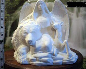 Indian Angel, Bear and Deer, Native American, Angel of Peace, angel with animals,Christmas decoration,u-paint,Ready to paint, Ceramic bisque