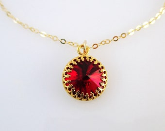 Red and gold necklace, Red pendant Gold, Red necklace, Red gem necklace, Red jewelry, Ruby necklace, Ruby jewelry