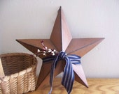 "Primitive 12"" Rusty Barn Star In Patriotic/Americana Colors Rustic Decor"