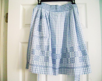Vintage Blue and White Check Apron, Vintage Gingham Apron, Blue Vintage Cross Stitched Apron, Half Apron