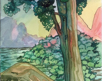 Abstract Tree by lake Original watercolor painting