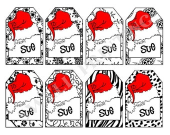 16 Printed Personalized Santa Hat Gfit Tag Set 1 by Swell Printing