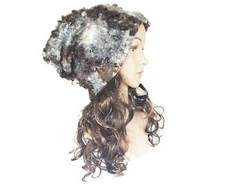 Unique hat,Felt fur hat, wool, Wensleydale Fleece, Handmade hat, hand felted,stylish hat,Slouchy Beanie,Slouchy Hat,Eco fur,winter accessory