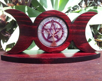 Triple Moon made from Stained Spruce with Pentacle and Tree of Life, Altar Triple Moon, Spiritual Pagan Wicca Altar Moon Ornament, Pentagram