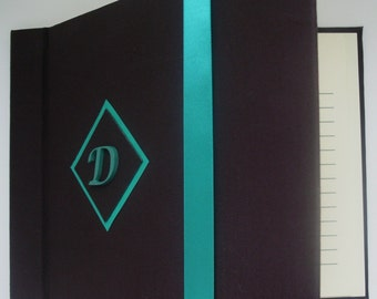 Monogram Guest Book, Fall Wedding Guest Book, Chocolate and Turquoise Guestbook, (Custom Colors Available)