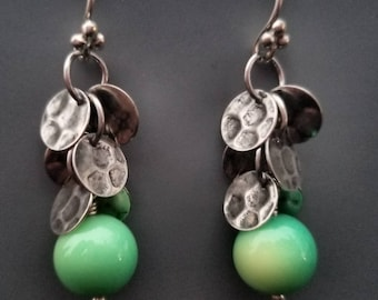 Oregon green moss opal sterling silver Earrings