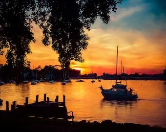 Sailboat decor, Sunset Art, Nautical Art, Sunset Prints, Home Decor, Large Wall Art, Neenah, Wisconsin, Fox Cities, Sailing, Warm Glow