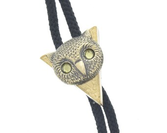 Owl Bolo Tie, Owl with stones  head charm , antique brass  bolo charm made in USA