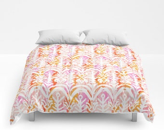 Pink And Orange Duvet Cover Girls Comforter King Queen Full Twin Xl Dorm  Bedding Tribal Print