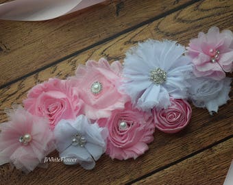 Pastel pink white Sash , flower Belt, maternity sash, wedding sash, flower girl sash, maternity sash belt