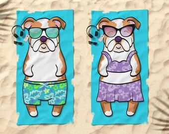 """English Bulldog  Beach Towel - Bulldog Gift - 30"""" x 60"""" or 36"""" x 72"""" - Gift for English Bulldog Lovers - Boy or Girl Sunbathing Bulldog"""