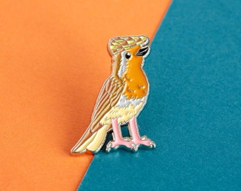 Robin Enamel Pin Badge - Birds in Hats Robin in a Flat Cap Pin Badge, Lapel Badge, Hat Pin, Robin pin, Bird pin
