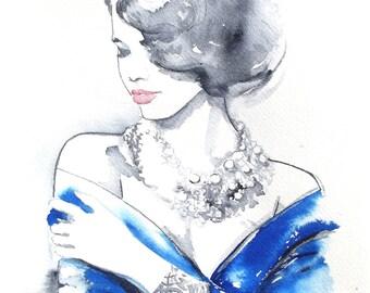 Fashion art print, Fashion Watercolor, Lana Moes art, Blue Home decor, fashion inspired, romantic painting, portrait, modern fine art print