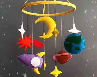 Space baby mobile Nursery mobile Baby Felt crib mobile Cot mobile Hanging crib mobile Boy mobile Girl mobile New baby gift Select your color
