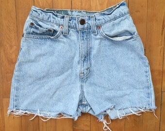 Vintage Levi's 512 High Waisted Light Wash Cut Off Denim Shorts
