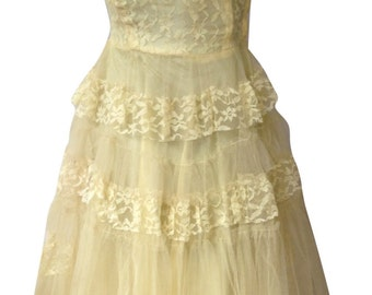 Vintage 1950s Yellow Tulle Party Dress
