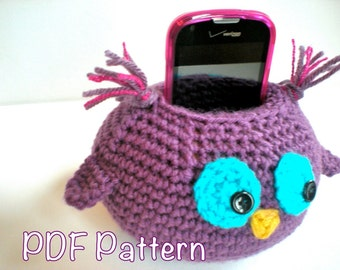 PATTERN: Wise Owl Cell Phone Docking/ Charging station, Easy Crochet PDF, ipod iphone stand holder, InStAnT DoWnLoAd, Permission to Sell