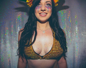 Gold holographic sequin and beaded bikini top - sequin top - fairylove