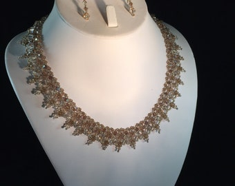 Veronica Swarovski Crystal Necklace and Earring Set in Topaz