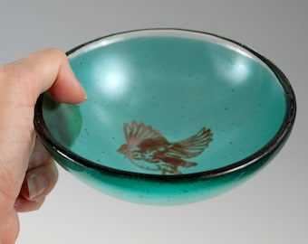 Bird Small Fused Glass Bowl