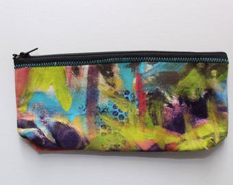 Canvas Zip Pouch - hand painted pencil make up bag ZPG09