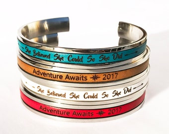 Graduation Gift For Her Personalized Gifts for Grads Cuff Bracelet Friendship Bracelet Coordinate Bracelet Mantra Bracelet Bangle Bracelet
