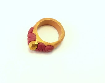Unique Gold Ring , Gold and Red Polymer Clay Ring, Gold Glass Crystal Solitaire Ring, Non Metal Ring, Metal Free Ring,