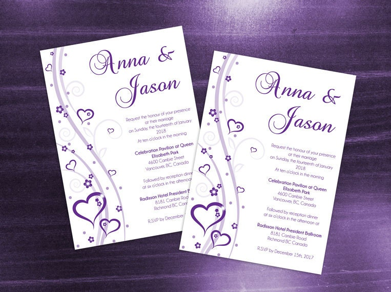 diy printable wedding invitation card template editable ms